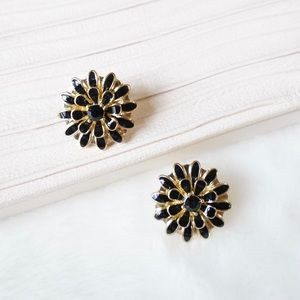 J.Crew Enamel Flower Studs in Black